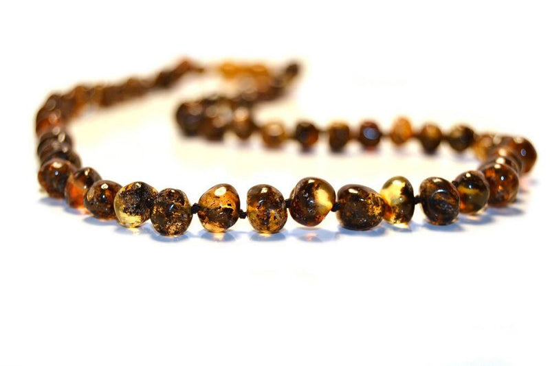 (12.5in) Certified Baltic Amber Teething Necklace for Baby - Green -  - The Art of Cure