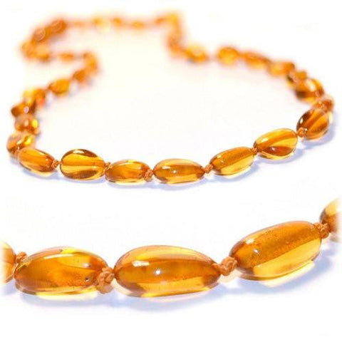 The Art of Cure Original Baltic Amber Necklace- Polished Handmade (Honey Bean) for boy or girl – 12 - 12.5 Inches size