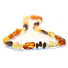 (12.5in) Certified Baltic Amber Teething Necklace For Baby - Honey Bean/Multi - Anti-inflammatory