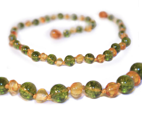 (12.5in) Certified Baltic Amber Teething Necklace for Baby - Lemon & Peridot