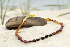 (12.5in) Certified Baltic Amber Teething Necklace For Baby - Rainbow Bean