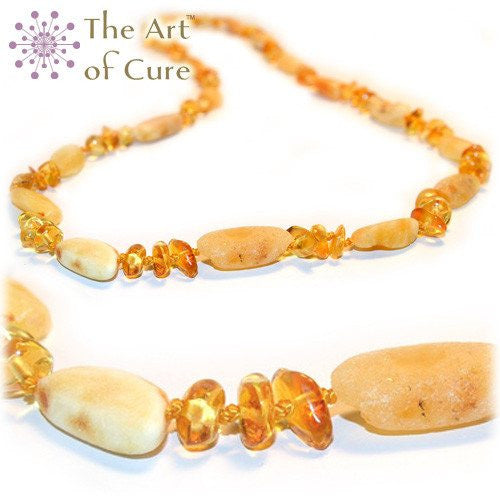 (12.5in) Certified Baltic Amber Teething Necklace for Baby - Raw Bean & Lemon - Anti-Inflammatory -  - The Art of Cure