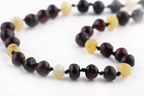 (12.5in) Certified Baltic Amber Teething Necklace for Baby - Raw Cherry/Lemon - Anti-Inflammatory