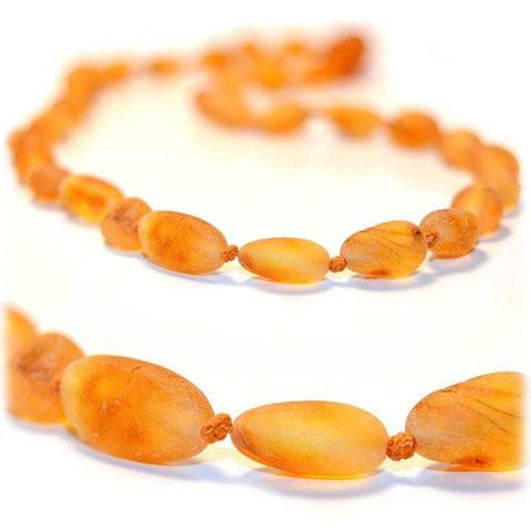 (12.5in) Certified Baltic Amber Teething Necklace for Baby - Raw Honey Bean