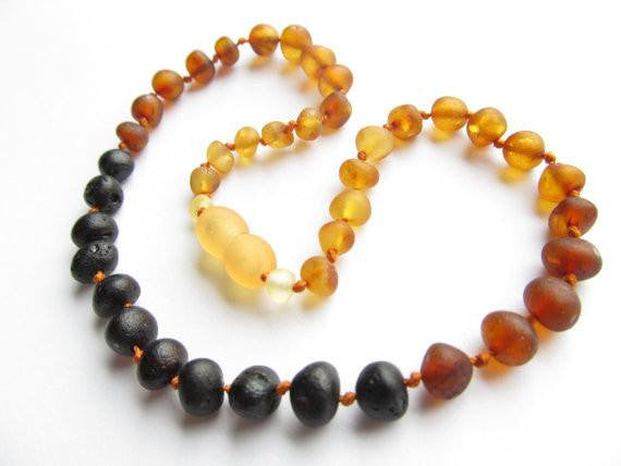 (12.5in) Certified Baltic Amber Teething Necklace for Baby - Raw Rainbow -  - The Art of Cure