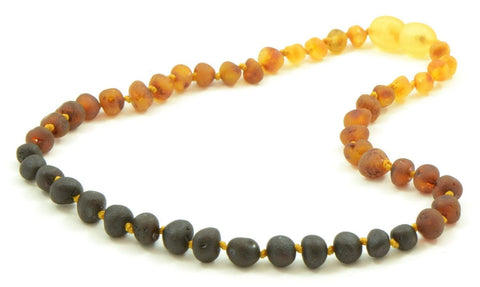 (12.5in) Certified Baltic Amber Teething Necklace for Baby - Raw Rainbow