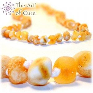 (12.5in) Certified Baltic Amber Teething Necklace for Baby - Raw Yellow/White