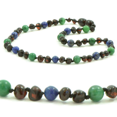 (12.5in) Semi-Precious & Certified Baltic Amber Teething Necklace for Baby - Cherry / Lapis Lazuli / African Jade