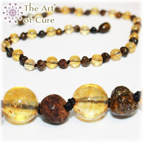 (12.5in) Semi-Precious & Certified Baltic Amber Teething Necklace for Baby - Green/Citrine
