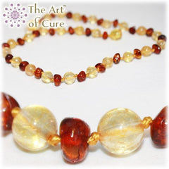 (12.5in) Semi-Precious & Certified Baltic Amber Teething Necklace For Baby - Honey/Citrine