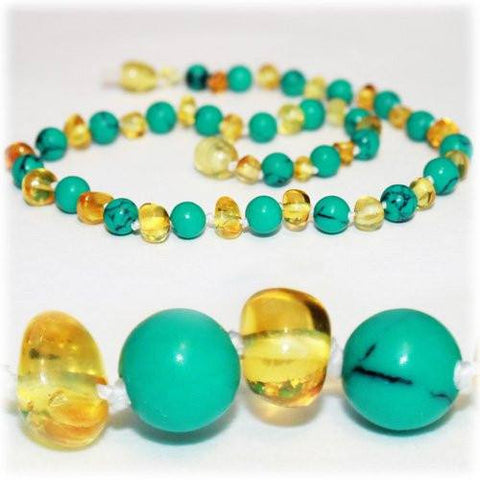 (12.5in) Semi-Precious & Certified Baltic Amber Teething Necklace for Baby - Turquoise/Lemon