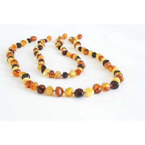 (17in, 12.5in) Certified Baltic Amber Teething Mom & Baby Set - Multicolored - Anti Flammatory