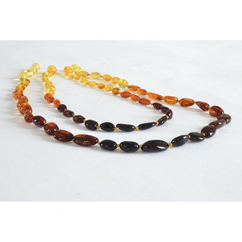 (17in, 12.5in) Certified Baltic Amber Teething Mom & Baby Set - Rainbow