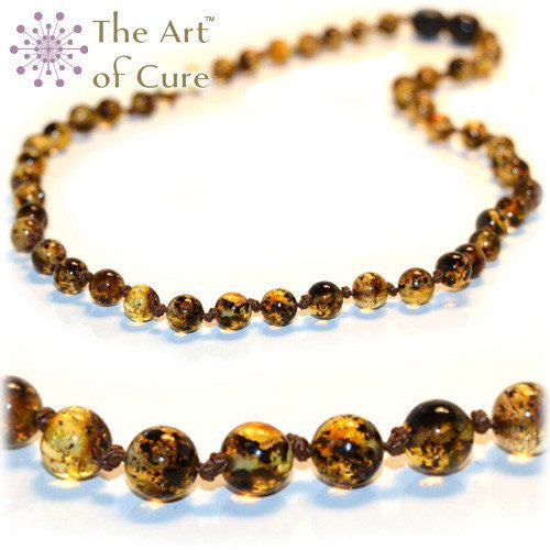 (17in) Certified Baltic Amber Necklace - Green - Anti-Inflammatory -  - The Art of Cure