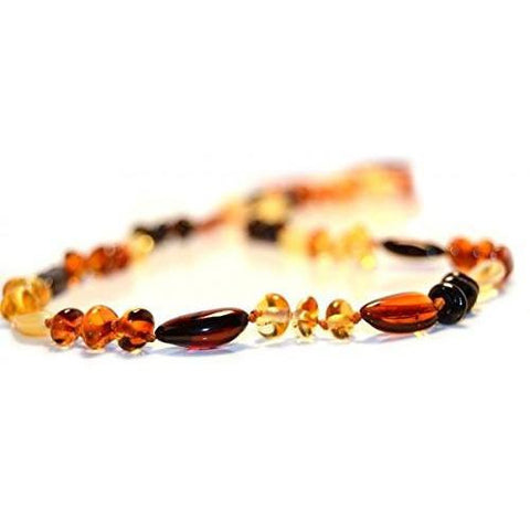 (17in) Certified Baltic Amber Necklace - MultiColor Round/Bean - Anti-Inflammatory