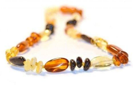 (17in) Certified Baltic Amber Necklace - MultiColor Round/Bean - Anti-Inflammatory -  - The Art of Cure