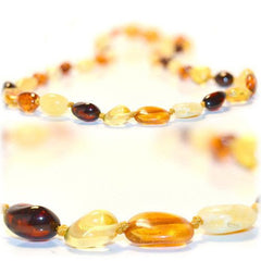 (17in) Certified Baltic Amber Necklace - Multicolored Bean - Anti-inflammatory