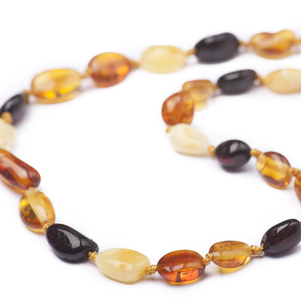 (17in) Certified Baltic Amber Necklace - Multicolored Bean - Anti-inflammatory -  - The Art of Cure