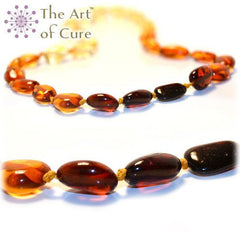 (17in) Certified Baltic Amber Necklace - Rainbow Bean - Anti-inflammatory