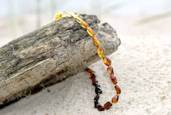 (17in) Certified Baltic Amber Necklace - Rainbow Bean - Anti-inflammatory -  - The Art of Cure