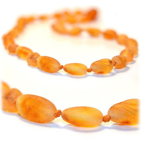 (17in) Certified Baltic Amber Necklace - Raw Butterscotch Bean - Anti-Inflammatory