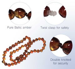 The Art of Cure Original Premium Baltic Amber & Semi-Stone Baby Teething Necklace - 12.5 inches (faceted) - Adult Healing - The Art of Cure