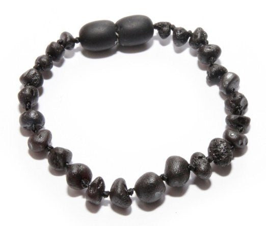 (5.5in) Baltic Amber Teething Bracelet - FTIR Lab Tested Authentic Amber - Raw Black Cherry -  - The Art of Cure