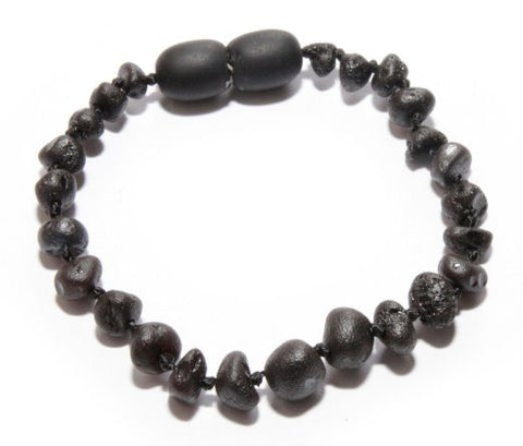 (5.5in) Baltic Amber Teething Bracelet - FTIR Lab Tested Authentic Amber - Raw Black Cherry