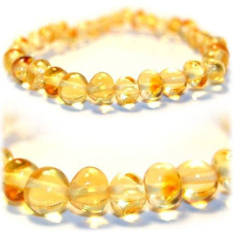 The Art of Cure Original Baltic Amber Bracelet- Polished Handmade (lemon) for boy or girl – 5-5.5 Inches size