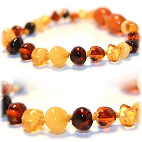 (5.5in) Certified Baltic Amber Bracelet - MultiColor