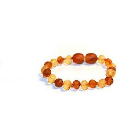 The Art of Cure Original Baltic Amber Bracelet- Polished Handmade (Raw 1x1) for boy or girl – 5-5.5 Inches size