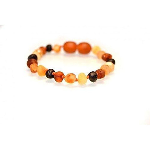 (5.5in) Certified Baltic Amber Bracelet - Raw Multicolored