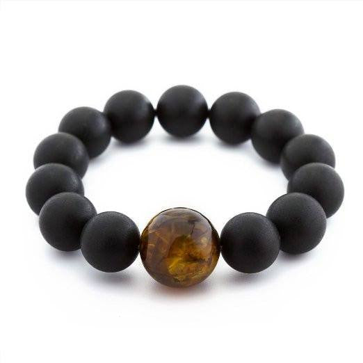 (8in) Certified Baltic Amber Adult Bracelet - Black with Honey Amber -  - The Art of Cure