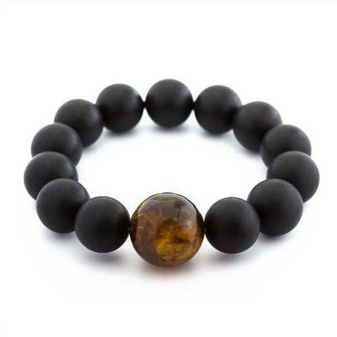 (8in) Certified Baltic Amber Adult Bracelet - Black with Honey Amber