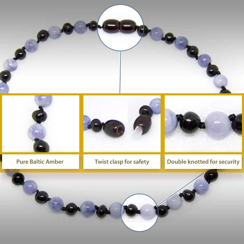 The Art of Cure Original Baltic Amber Necklace- Polished Handmade (Cherry/Aquamarine) for boy or girl – 12 - 12.5 Inches size