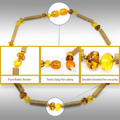 (12.5 in.) Baltic Amber & Hazelwood Teething Necklace - Unisex - 1x1