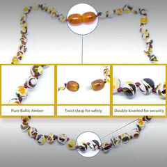 The Art of Cure Original Baltic Amber Necklace- Polished Handmade (Mosaic) for boy or girl – 12 - 12.5 Inches size