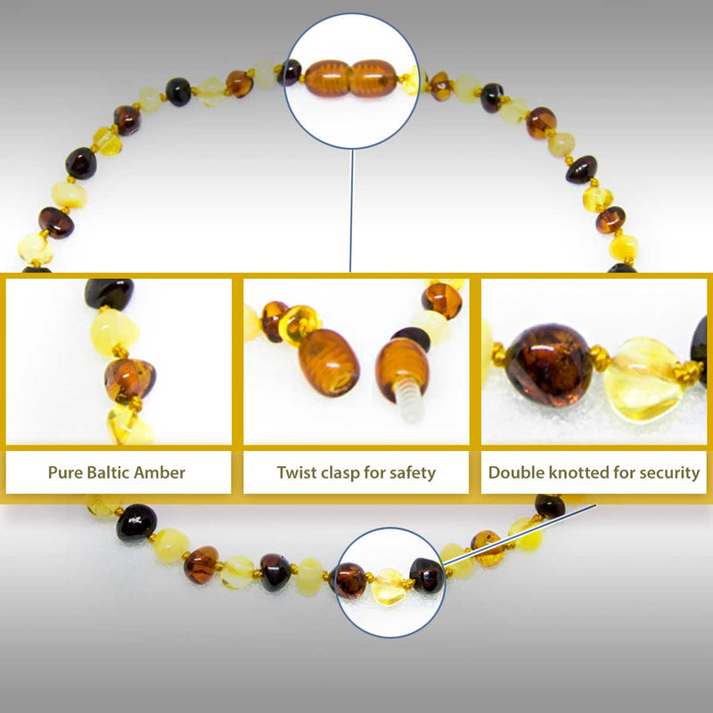 The Art of Cure Original Baltic Amber Necklace- Polished Handmade for boy or girl Cherry Bean 12-12.5 Inches size