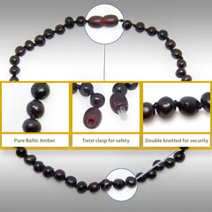 The Art of Cure Original Baltic Amber Necklace- Polished Handmade (Raw Cherry) for boy or girl – 12 - 12.5 Inches size