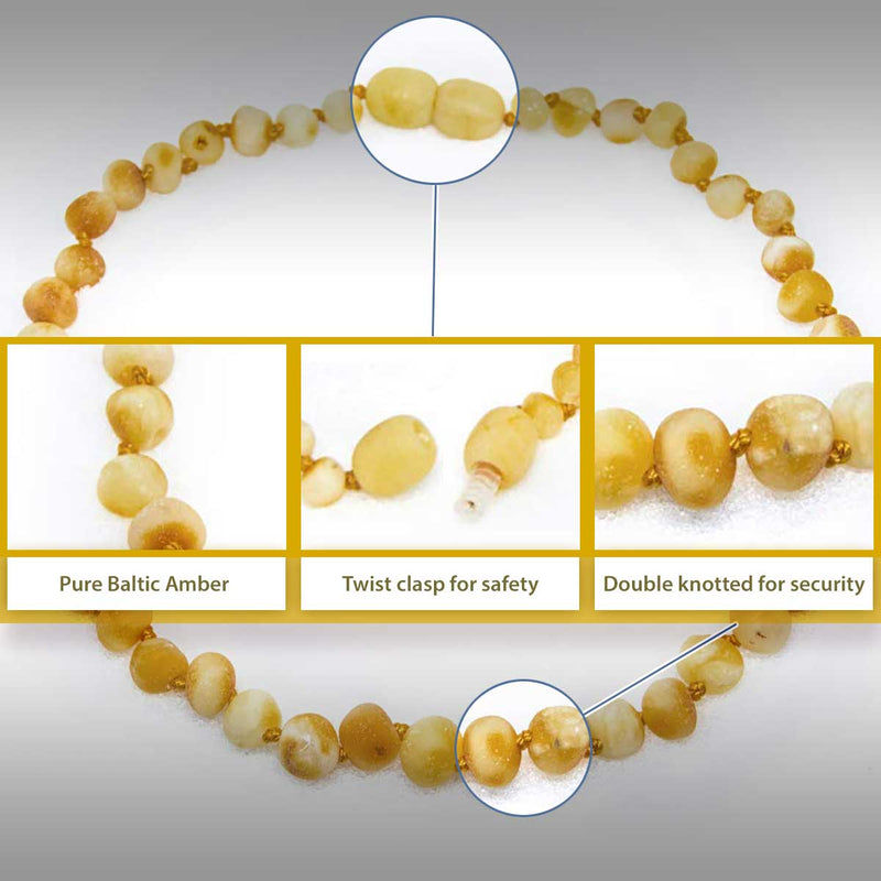 The Art of Cure Original Baltic Amber Necklace- Polished Handmade (raw butter) for boy or girl – 12 - 12.5 Inches size