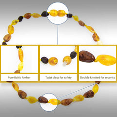 (12.5in) Certified Baltic Amber Teething Necklace for Baby - Raw M/C Bean - Anti-inflammatory