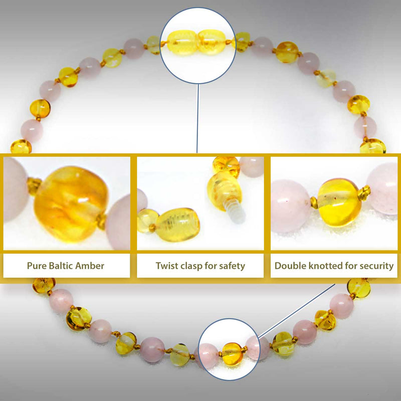 The Art of Cure Original Baltic Amber Necklace- Polished Handmade (Rose Quartz) for boy or girl – 12 - 12.5 Inches size