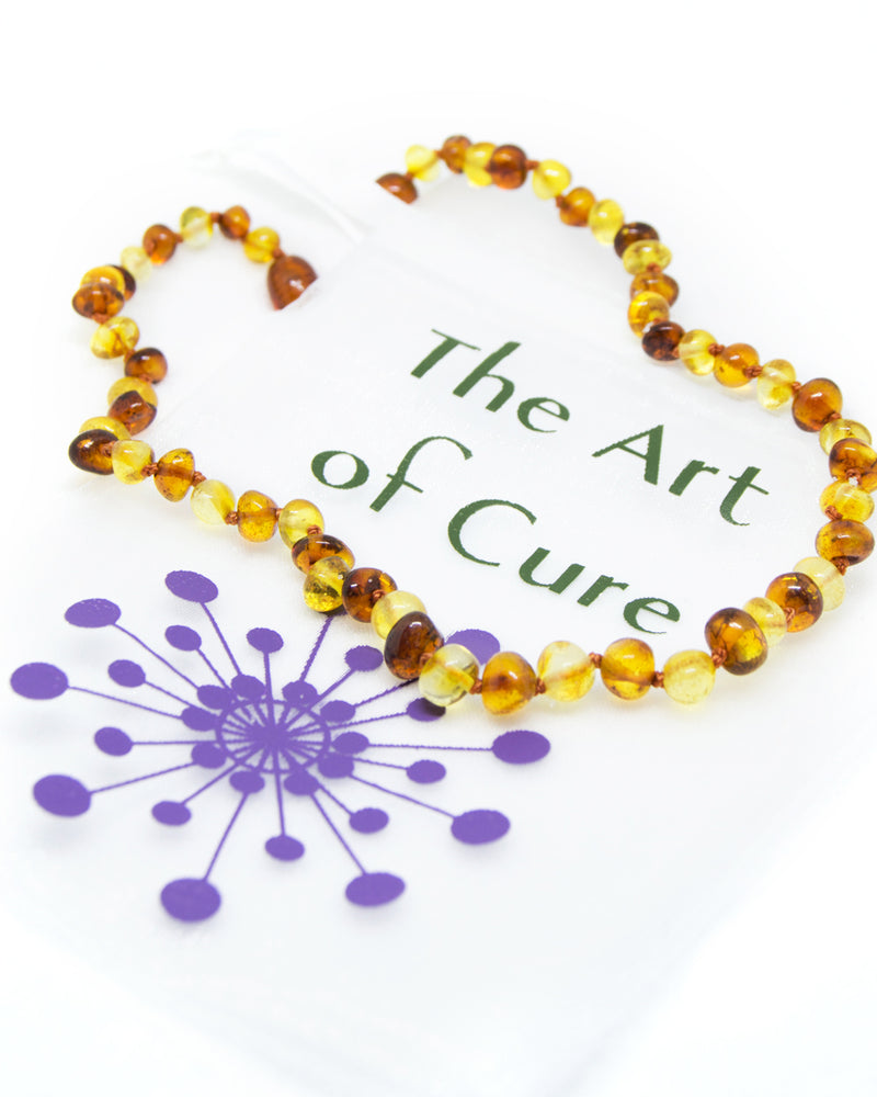 (17in) 1x1 Certified Baltic Amber Necklace - Anti-Inflammatory -  - The Art of Cure