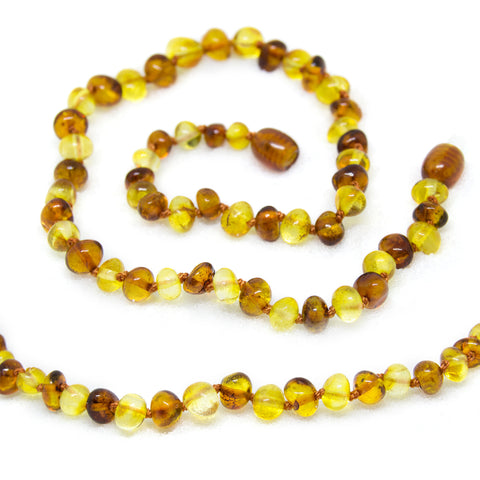 The Art of Cure Original Baltic Amber Teething Necklace- Polished Organic & Handmade (1x1) for boy or girl - 12.5 Inches size