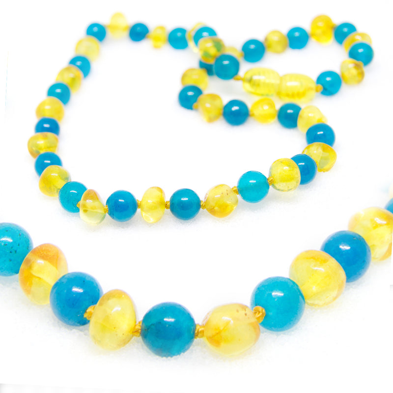 (12.5in) Semi-Precious & Certified Baltic Amber Teething Necklace for Baby - Blue Jade/Lemon -  - The Art of Cure