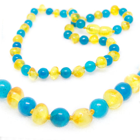 (12.5in) Semi-Precious & Certified Baltic Amber Teething Necklace for Baby - Blue Jade/Lemon