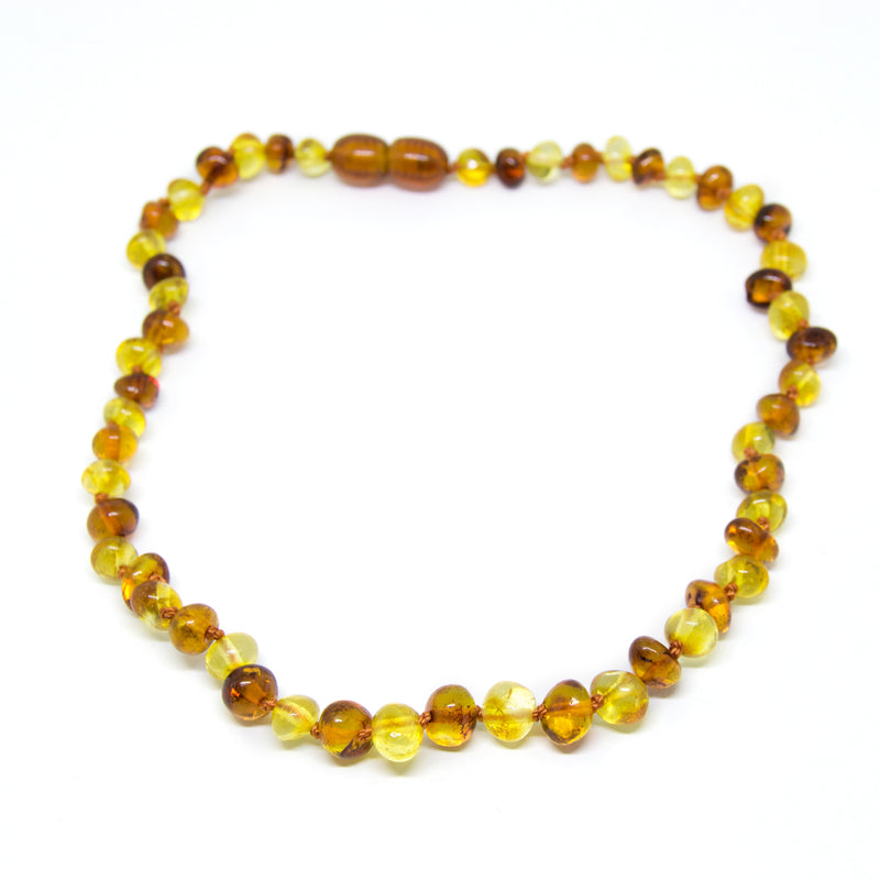 The Art of Cure Original Baltic Amber Teething Necklace- Polished Organic & Handmade (1x1) for boy or girl - 12.5 Inches size -  - The Art of Cure