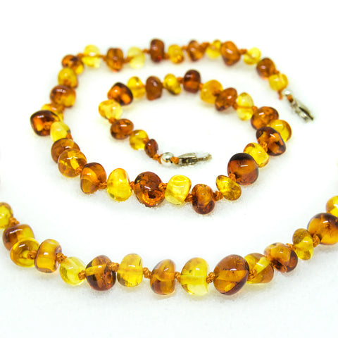 (10in) Certified Baltic Amber Adjustable Bracelet or Anklet - Silver Lobster Clasp - Honey/Lemon