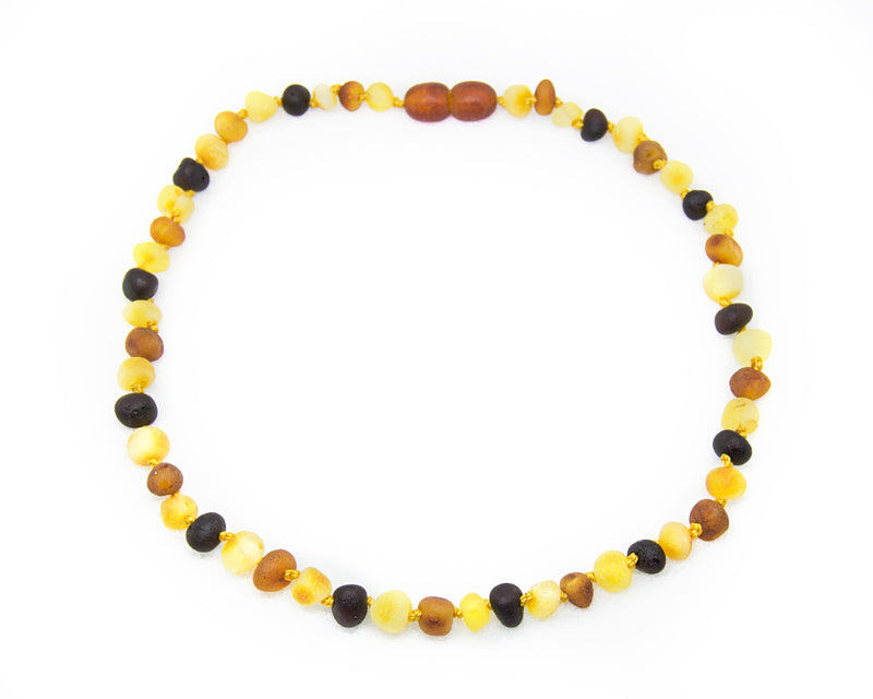 (12.5in) *Premium* Baltic Amber Teething Necklace for Baby - Raw MultiColor -  - The Art of Cure