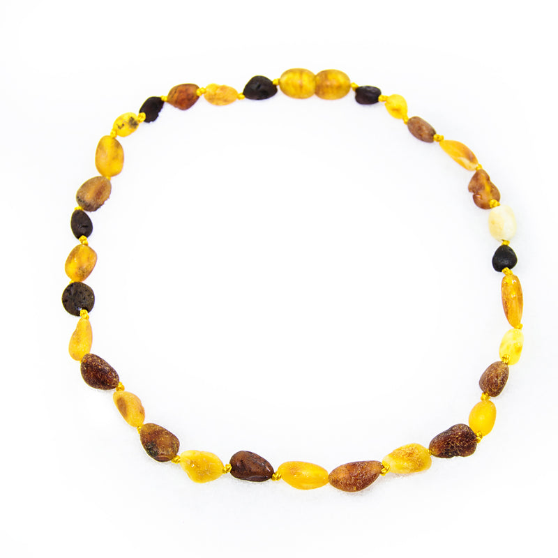(12.5in) Certified Baltic Amber Teething Necklace for Baby - Raw M/C Bean - Anti-inflammatory -  - The Art of Cure